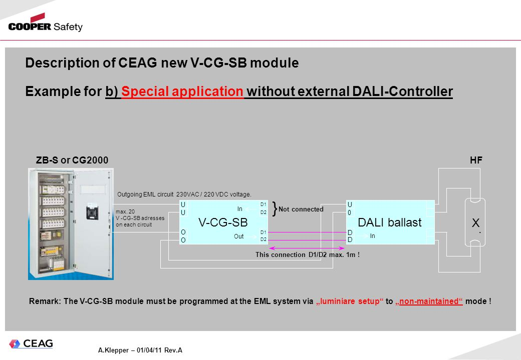 A.Klepper – 01/04/11 Rev.A Description of CEAG new V-CG-SB module Example for b) Special application without external DALI-Controller ZB-S DALI ballast 0 U V-CG-SB U O U D1 D2 O D1 D2 ZB-S or CG2000 X.