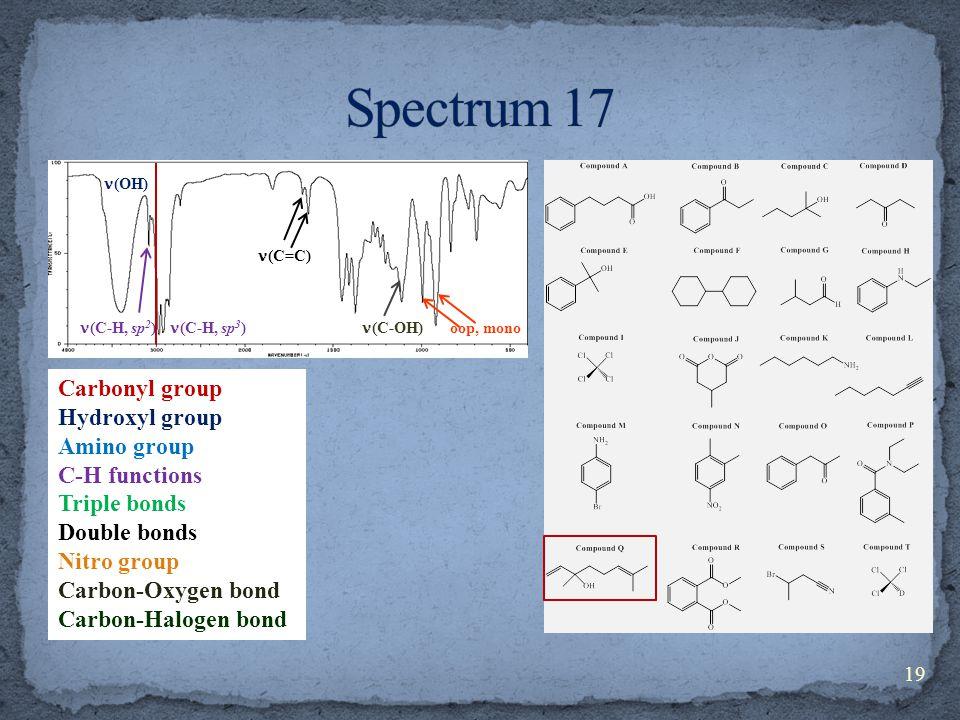 Carbonyl group Hydroxyl group Amino group C-H functions Triple bonds Double bonds Nitro group Carbon-Oxygen bond Carbon-Halogen bond (C-H, sp 3 ) (C-H, sp 2 ) (C=C) (OH) (C-OH) oop, mono 19