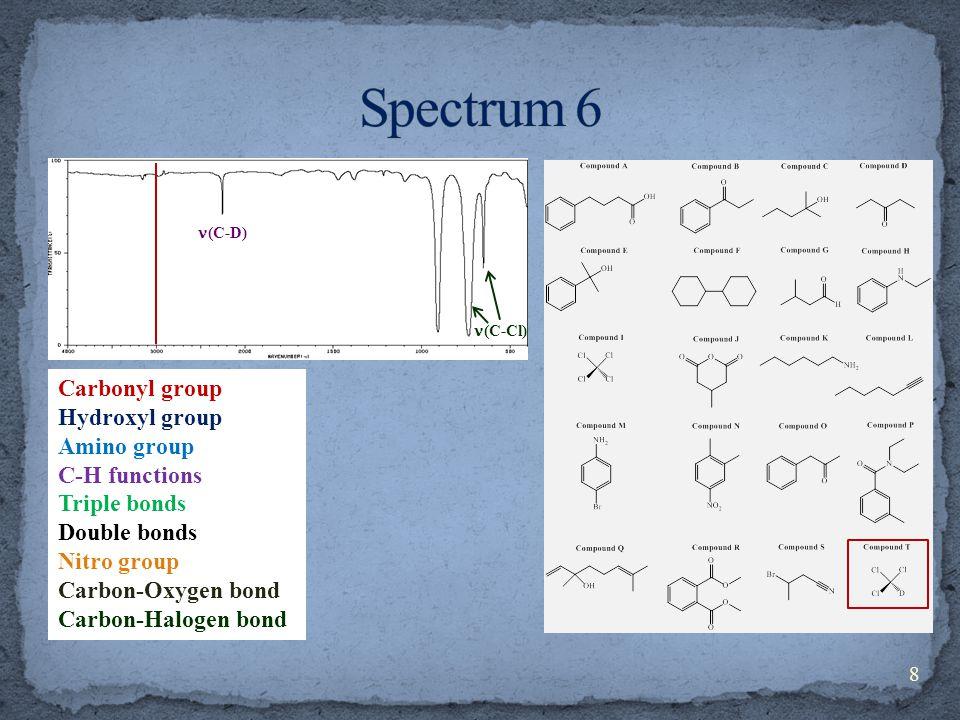 Carbonyl group Hydroxyl group Amino group C-H functions Triple bonds Double bonds Nitro group Carbon-Oxygen bond Carbon-Halogen bond (C-D) (C-Cl) 8