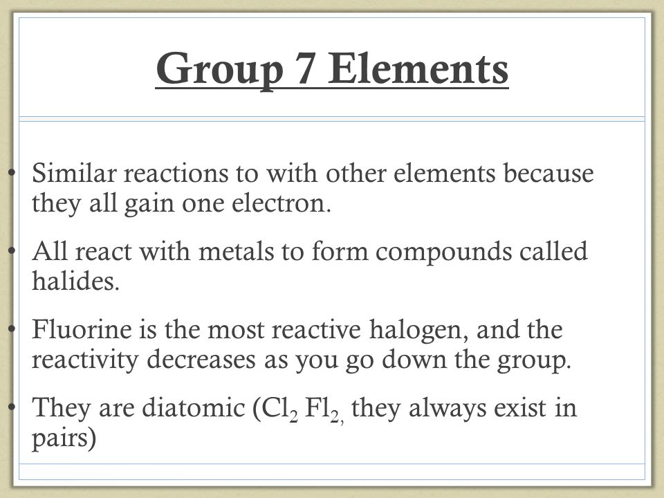 The order of reactivity of the halogens is: Fluorine Chlorine Bromine Iodine Astatine Reactivity decreases