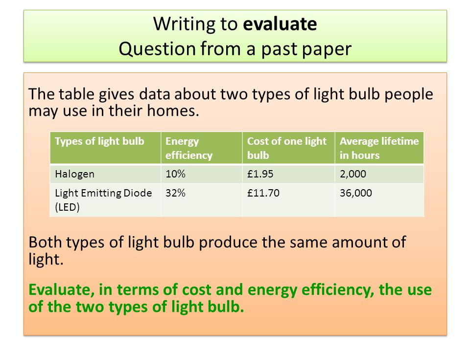 Writing to evaluate Question from a past paper The table gives data about two types of light bulb people may use in their homes. Both types of light b