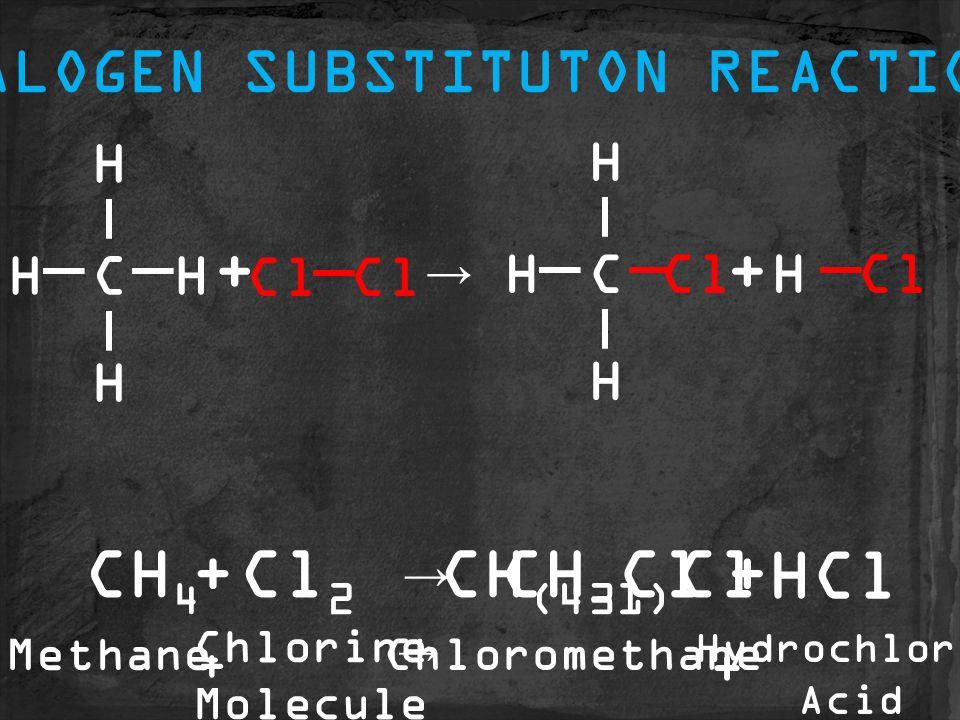 Chloromethane CH 3 ClCH 4 Cl 2 CH (4-1) Cl HCl ++→ C H HH H Cl C H H H H ++→ HALOGEN SUBSTITUTON REACTION Methane Chlorine Molecule Hydrochloric Acid + + →
