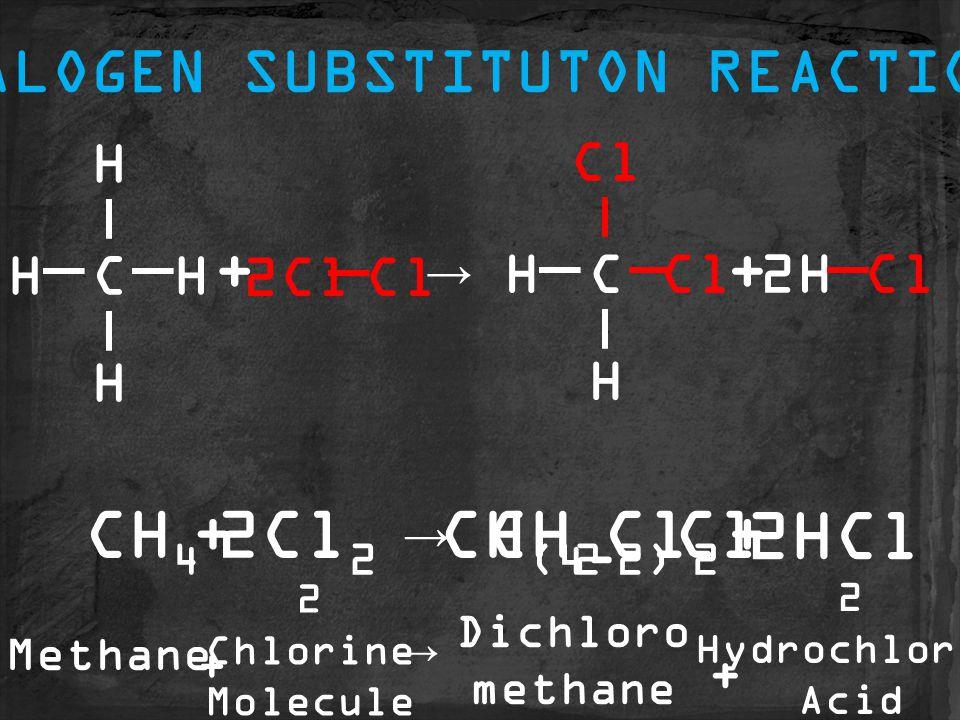 CH (4-2) Cl Dichloro methane CH 2 Cl 2 CH 4 2Cl 2 2HCl ++→ C H HH H 2ClCl C H H 2HCl ++→ HALOGEN SUBSTITUTON REACTION Methane 2 Chlorine Molecule 2 Hydrochloric Acid + + →