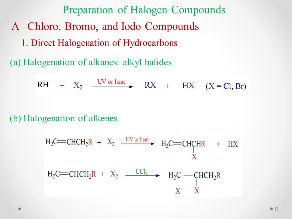 Preparation of Halogen Compounds A Chloro, Bromo, and Iodo Compounds 1.