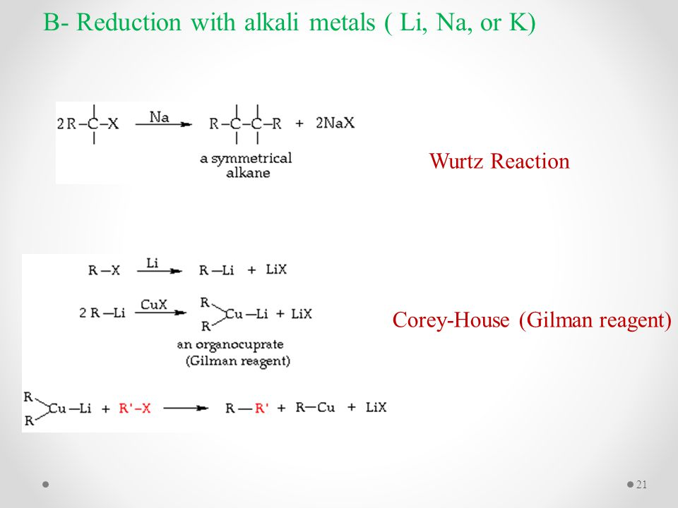 Corey-House (Gilman reagent) B- Reduction with alkali metals ( Li, Na, or K) Wurtz Reaction 21