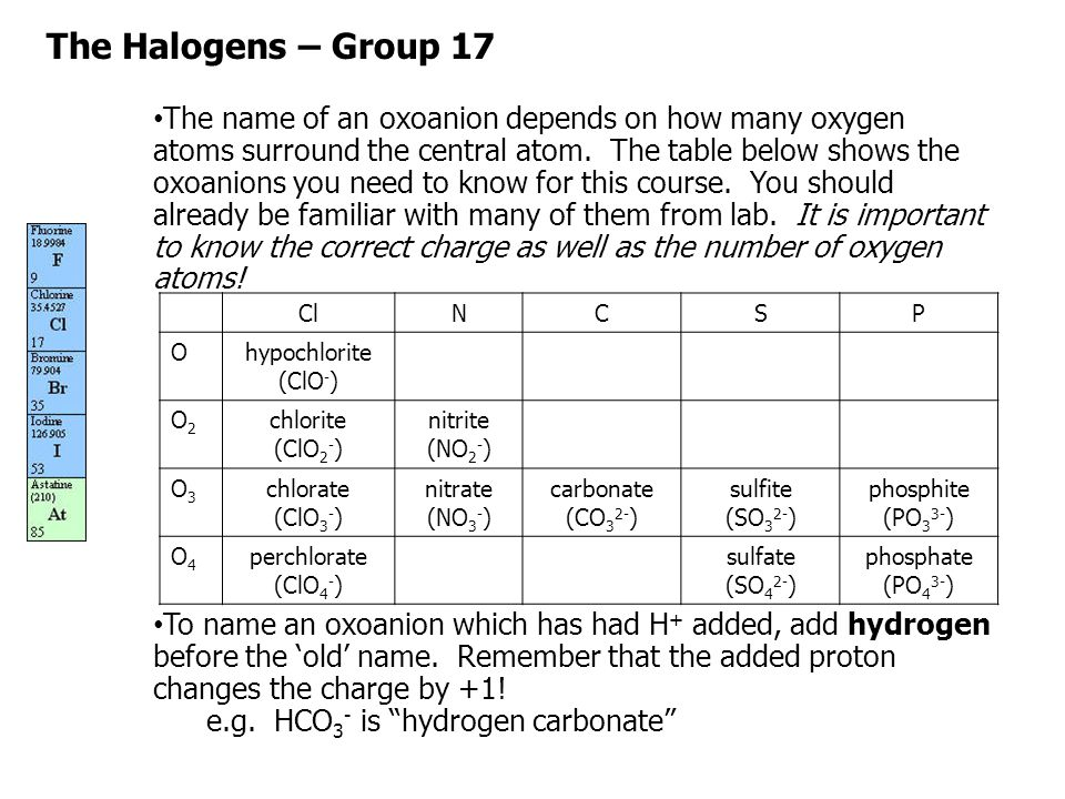 The Halogens – Group 17 Note that if enough H + have been added to render the oxoanion neutral, it is no longer an oxoanion.