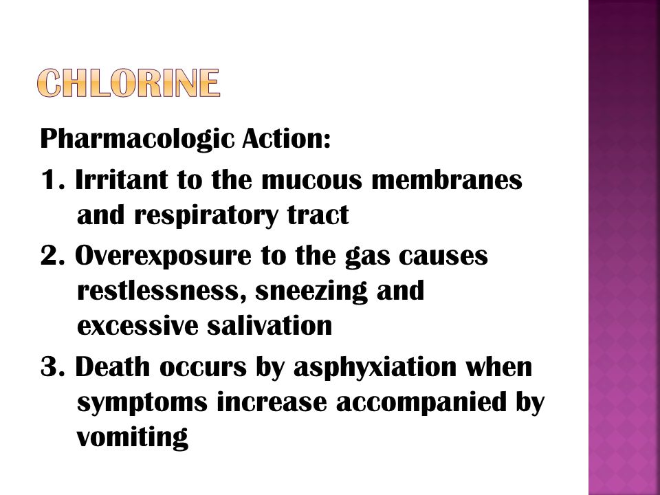 Pharmacologic Action: 1. Irritant to the mucous membranes and respiratory tract 2.