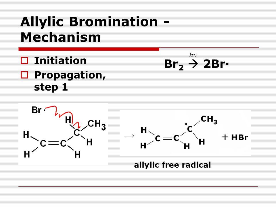 Allylic Bromination - Mechanism  Initiation  Propagation, step 1 Br 2  2Br hυhυ allylic free radical
