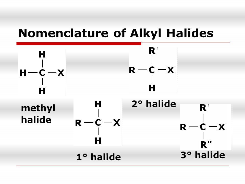 Nomenclature of Alkyl Halides methyl halide 1° halide 2° halide 3° halide