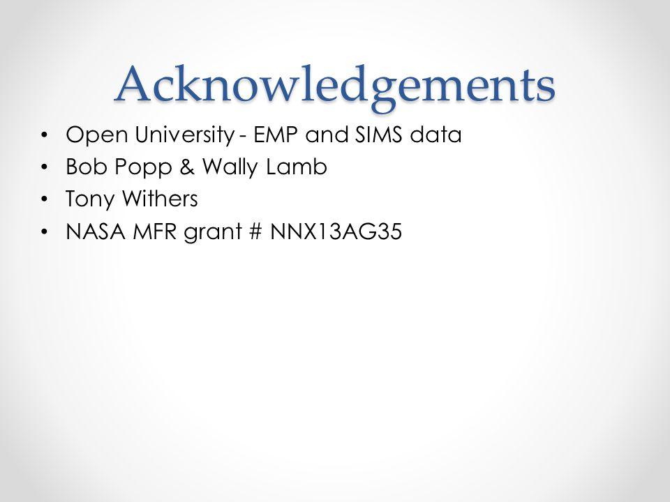 Acknowledgements Open University - EMP and SIMS data Bob Popp & Wally Lamb Tony Withers NASA MFR grant # NNX13AG35