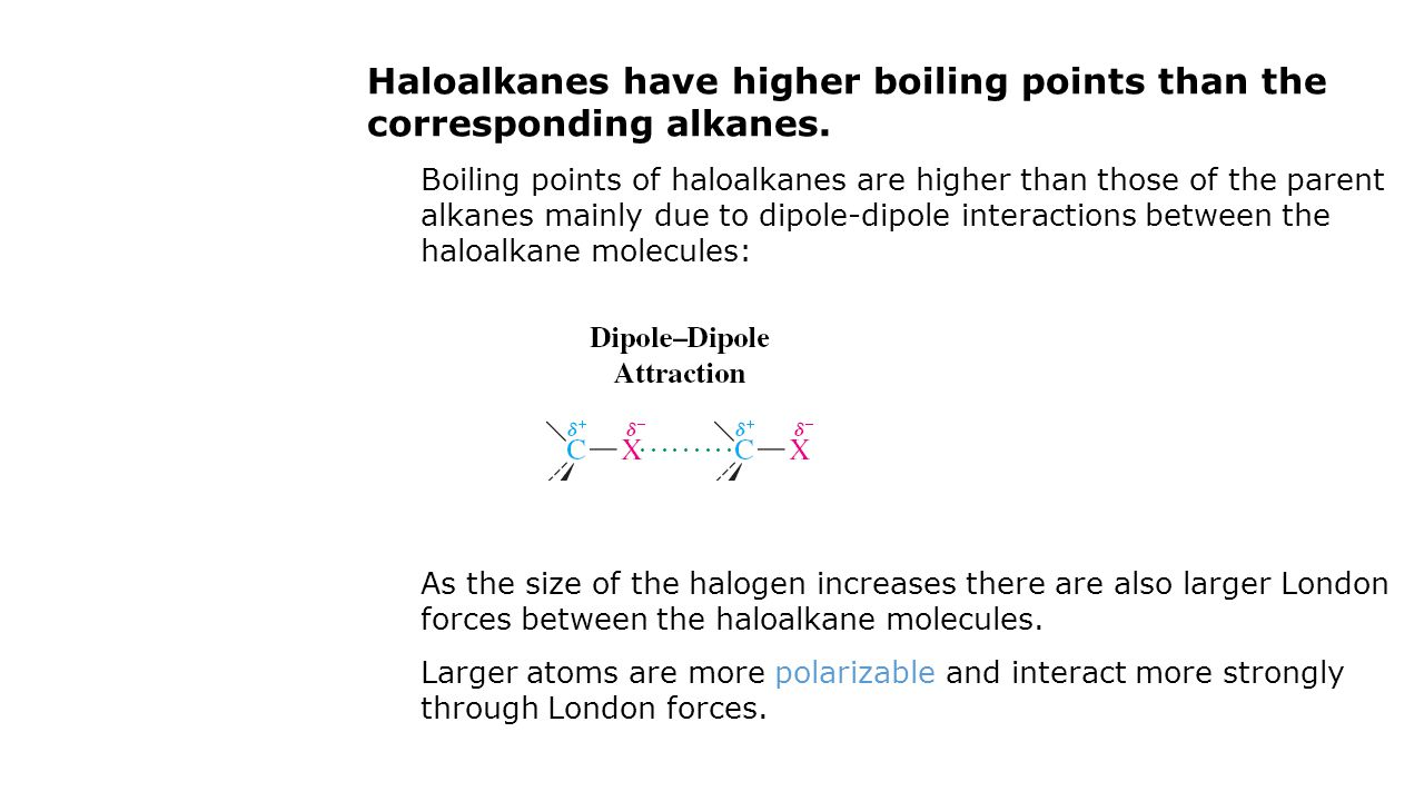 Haloalkanes have higher boiling points than the corresponding alkanes. Boiling points of haloalkanes are higher than those of the parent alkanes mainl