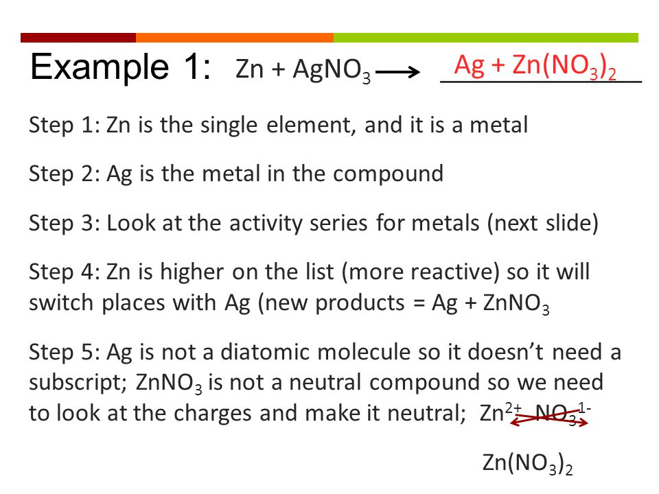 Example 1: Step 1: Zn is the single element, and it is a metal Step 2: Ag is the metal in the compound Step 3: Look at the activity series for metals