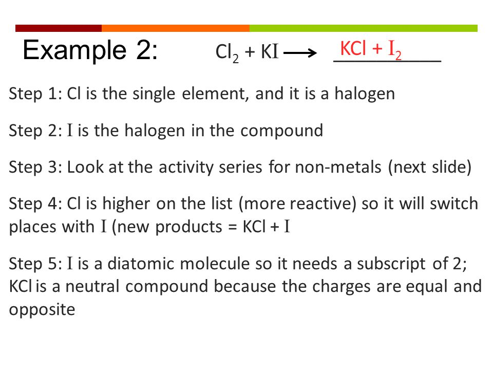 Cl 2 + K I __________ Example 2: Step 1: Cl is the single element, and it is a halogen Step 2: I is the halogen in the compound Step 3: Look at the ac
