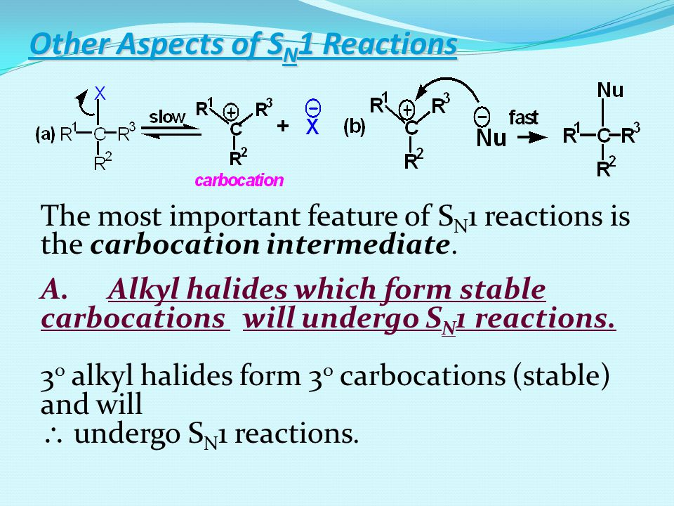 Alkyl halides which form stable carbocations will undergo S N 1 reactions.