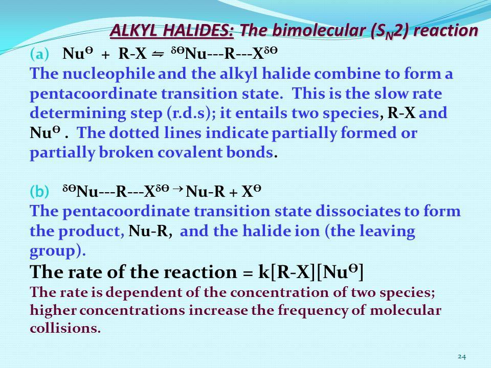 24 ALKYL HALIDES: The bimolecular (S N 2) reaction (a) Nu Ө + R-X ⇋  Ө Nu---R---X  Ө The nucleophile and the alkyl halide combine to form a pentacoo