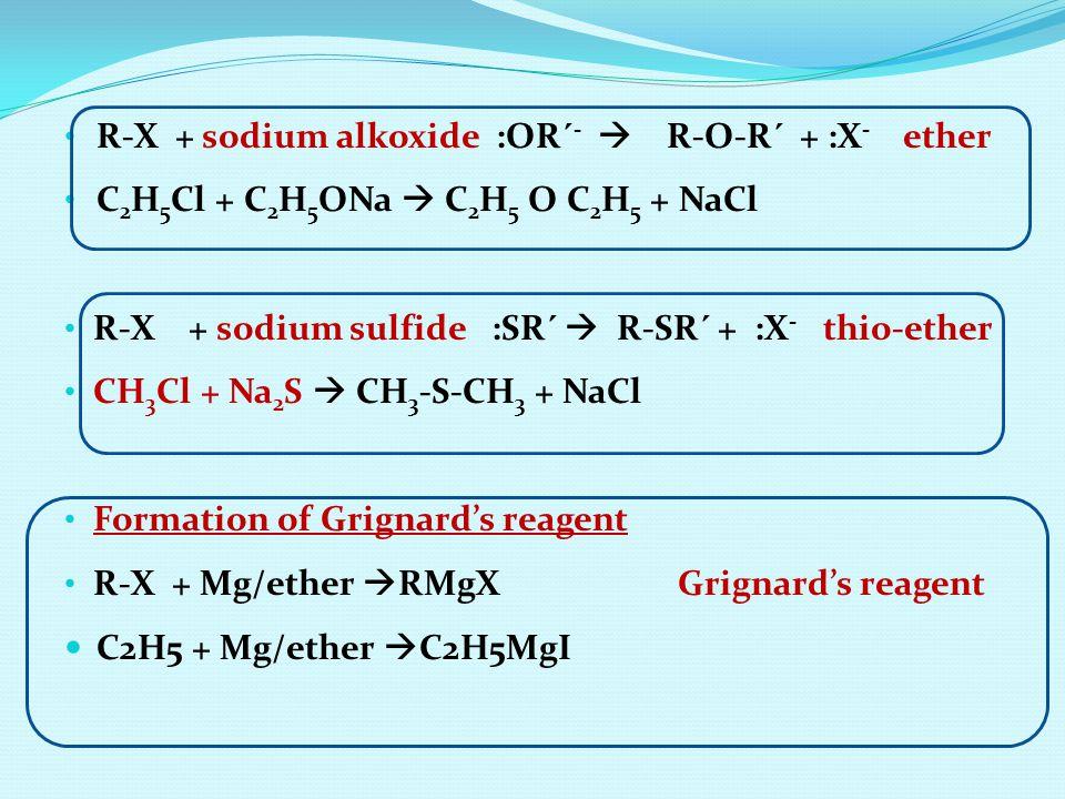 R-X + sodium alkoxide :OR´ -  R-O-R´ + :X - ether C 2 H 5 Cl + C 2 H 5 ONa  C 2 H 5 O C 2 H 5 + NaCl R-X + sodium sulfide :SR´  R-SR´ + :X - thio-e