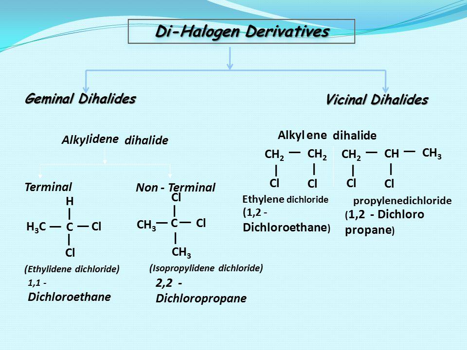 Di-Halogen Derivatives Geminal Dihalides Vicinal Dihalides idene Terminal Non - Terminal H3CH3C   C   Cl   (Ethylidene dichloride) 1,1 - Dichloroethan