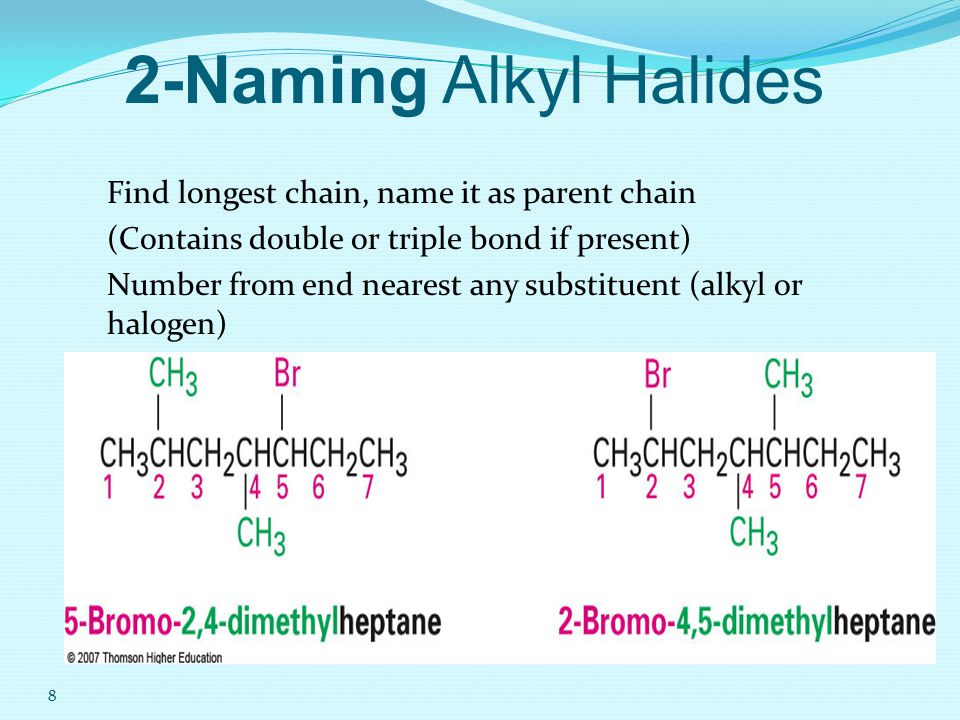 3-Isomerism in alkyl halides 1-Position isomerism: Compounds having the same molecular formula but differ in the position of the halogen atom C 4 H 9 Br → CH 3 CH 2 CH 2 CH 2 Br 1-bromobutane CH 3 CHCH 2 CH 3 2-bromobutane Br
