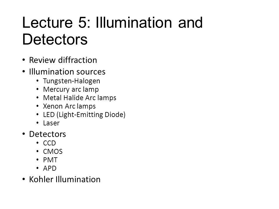 Lecture 5: Illumination and Detectors Review diffraction Illumination sources Tungsten-Halogen Mercury arc lamp Metal Halide Arc lamps Xenon Arc lamps LED (Light-Emitting Diode) Laser Detectors CCD CMOS PMT APD Kohler Illumination