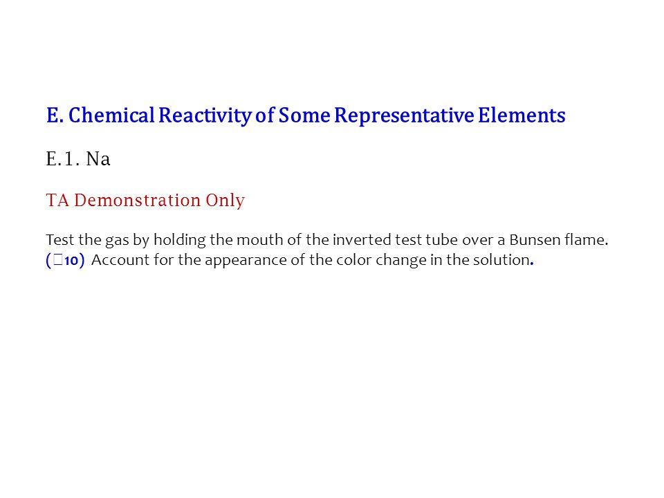 E. Chemical Reactivity of Some Representative Elements E.1.