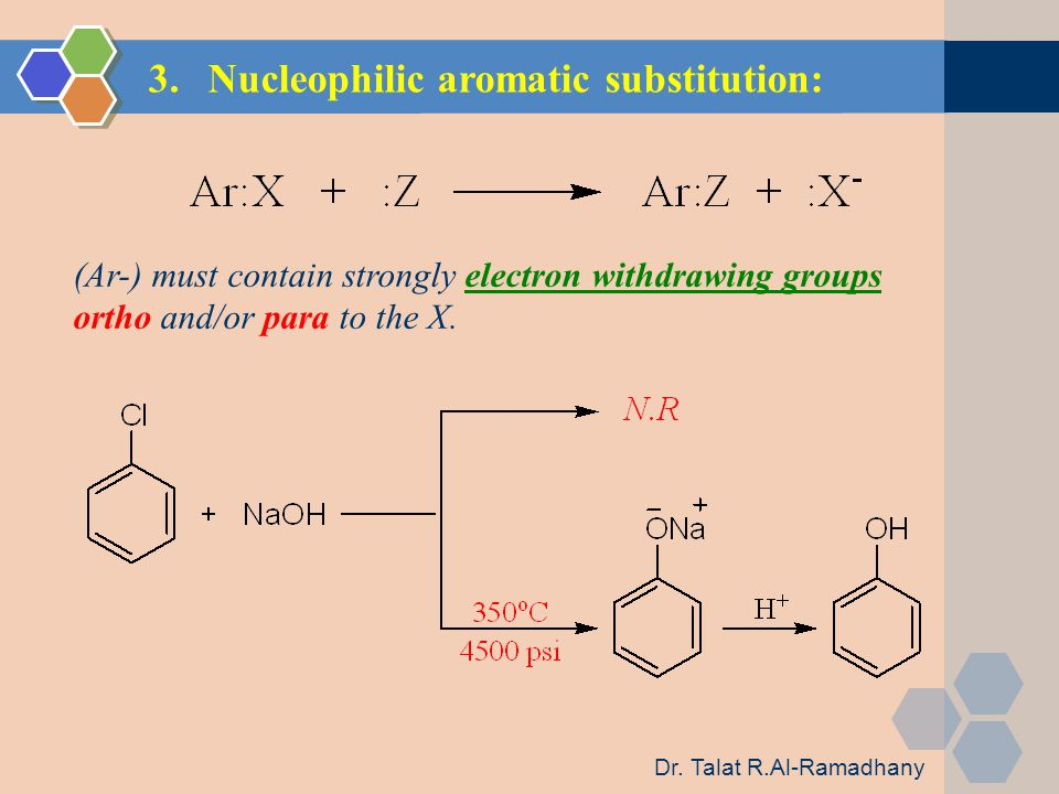 3.Nucleophilic aromatic substitution: (Ar-) must contain strongly electron withdrawing groups ortho and/or para to the X.