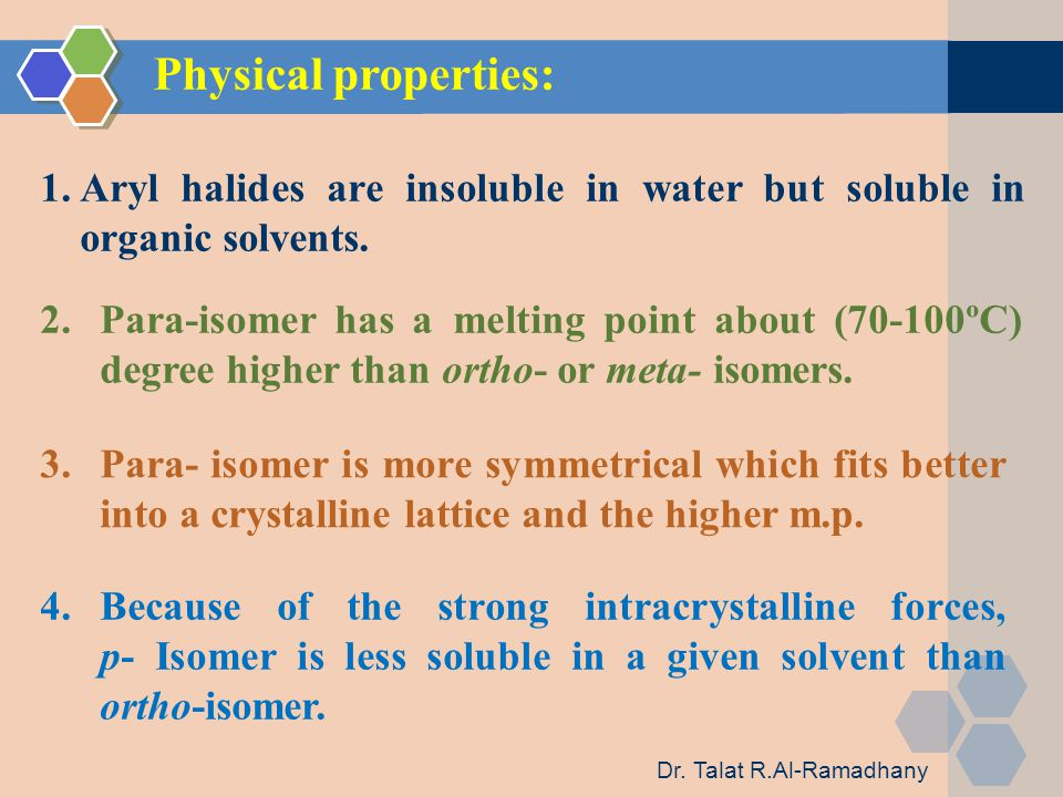 Physical properties: 1.Aryl halides are insoluble in water but soluble in organic solvents.