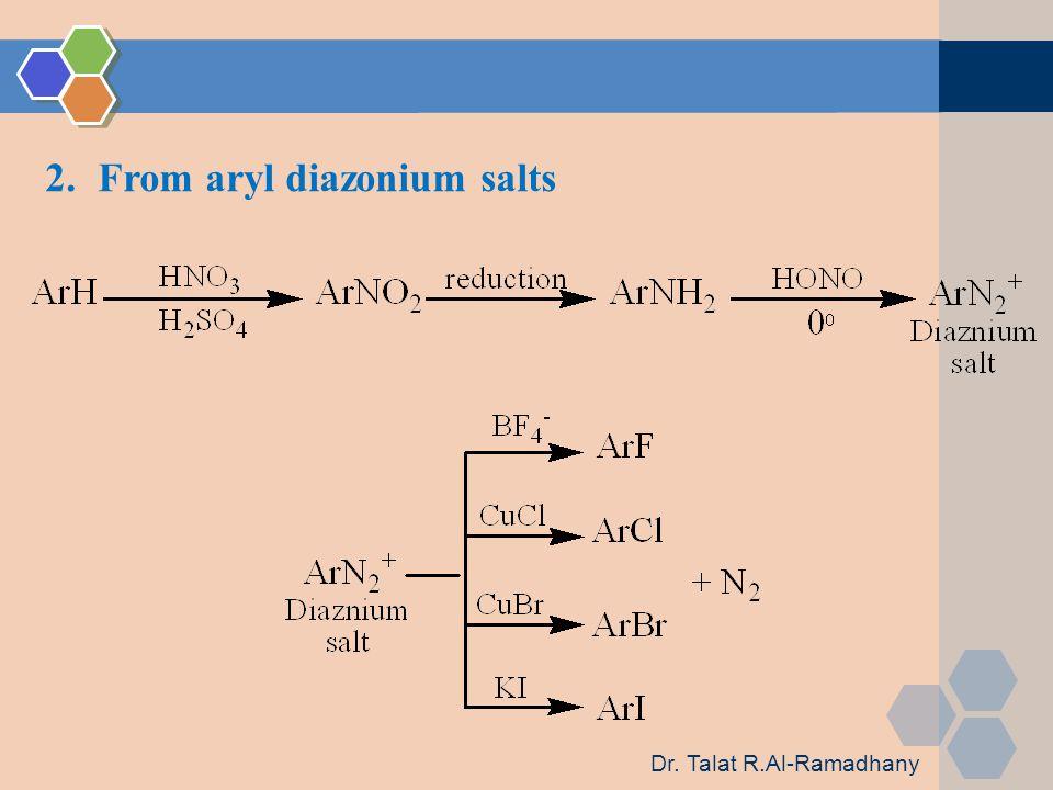 2.From aryl diazonium salts Dr. Talat R.Al-Ramadhany