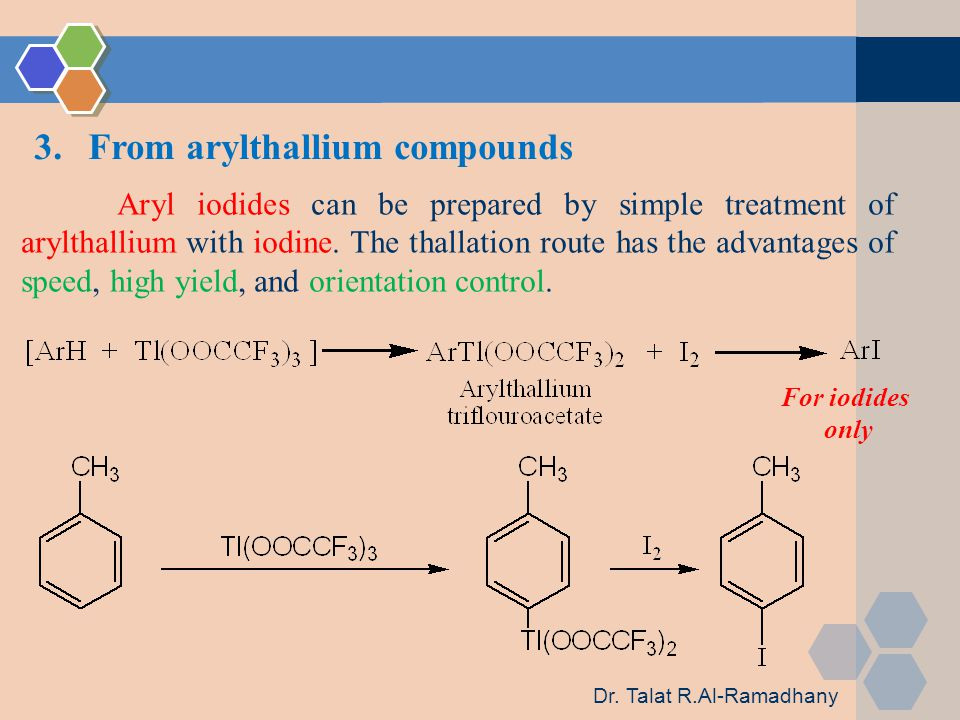 3.From arylthallium compounds Aryl iodides can be prepared by simple treatment of arylthallium with iodine.