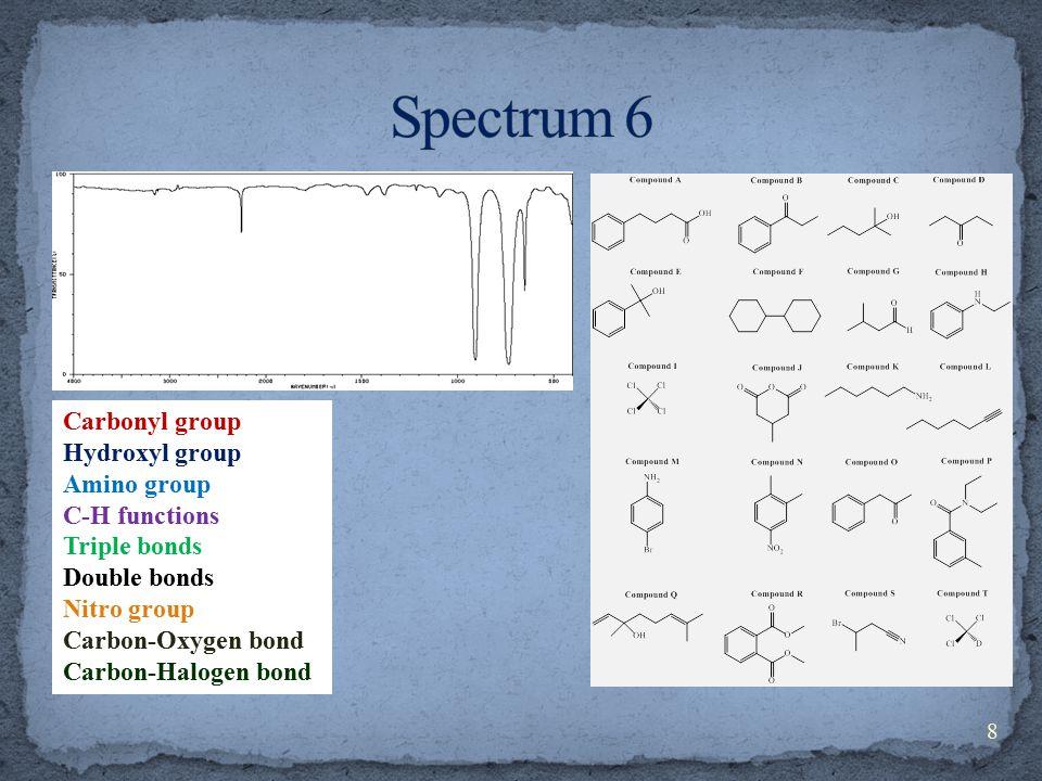 Carbonyl group Hydroxyl group Amino group C-H functions Triple bonds Double bonds Nitro group Carbon-Oxygen bond Carbon-Halogen bond 8