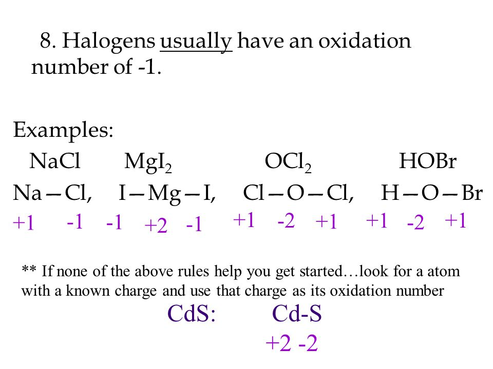 8.Halogens usually have an oxidation number of -1.