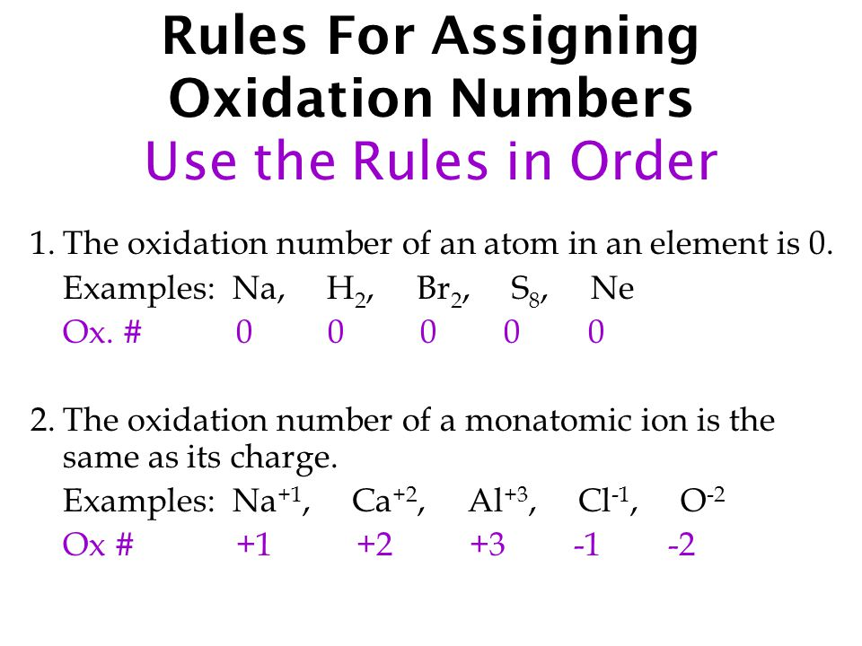 Rules For Assigning Oxidation Numbers Use the Rules in Order 1.The oxidation number of an atom in an element is 0.