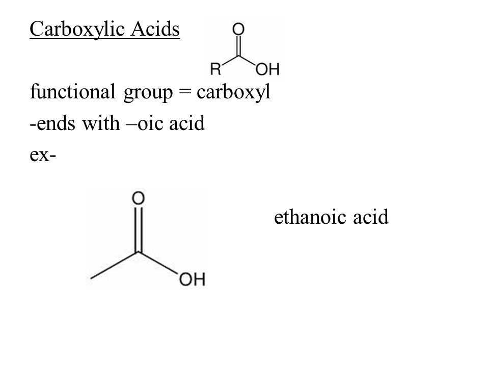 Carboxylic Acids functional group = carboxyl -ends with –oic acid ex- ethanoic acid