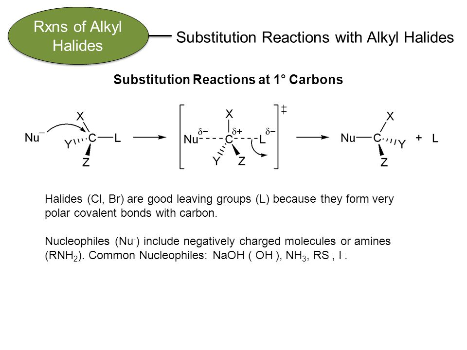 Rxns of Alkyl Halides Substitution Reactions with Alkyl Halides Substitution Reactions at 1° Carbons Halides (Cl, Br) are good leaving groups (L) because they form very polar covalent bonds with carbon.