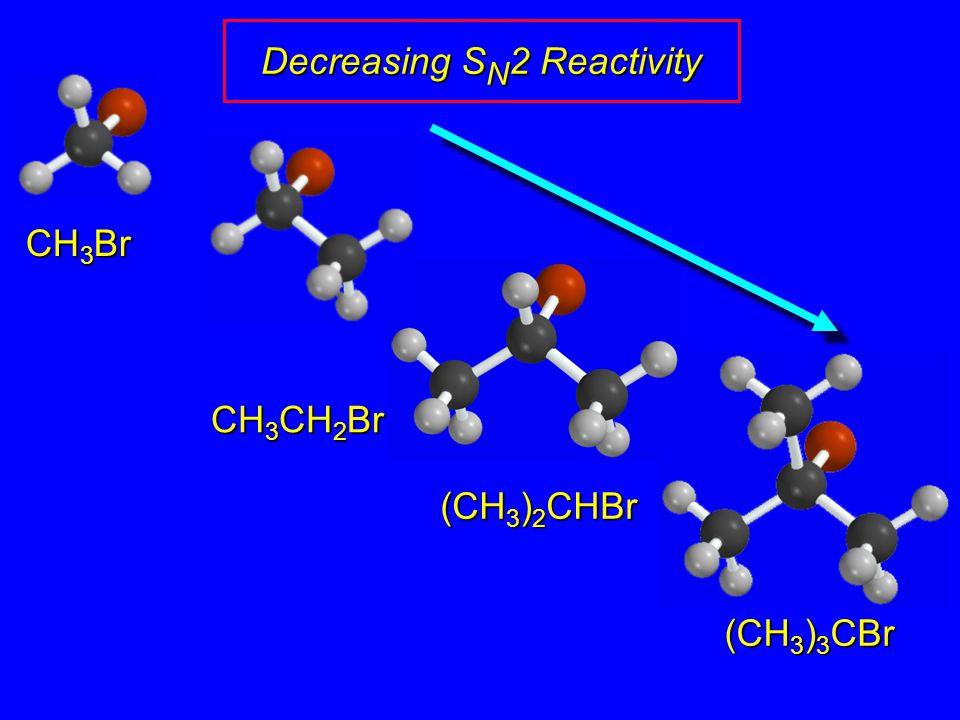 CH 3 Br CH 3 CH 2 Br (CH 3 ) 2 CHBr (CH 3 ) 3 CBr Decreasing S N 2 Reactivity
