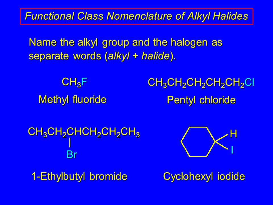 Name the alkyl group and the halogen as separate words (alkyl + halide).