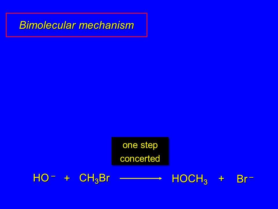 HO – CH 3 Br + HOCH 3 Br – + one step concerted Bimolecular mechanism
