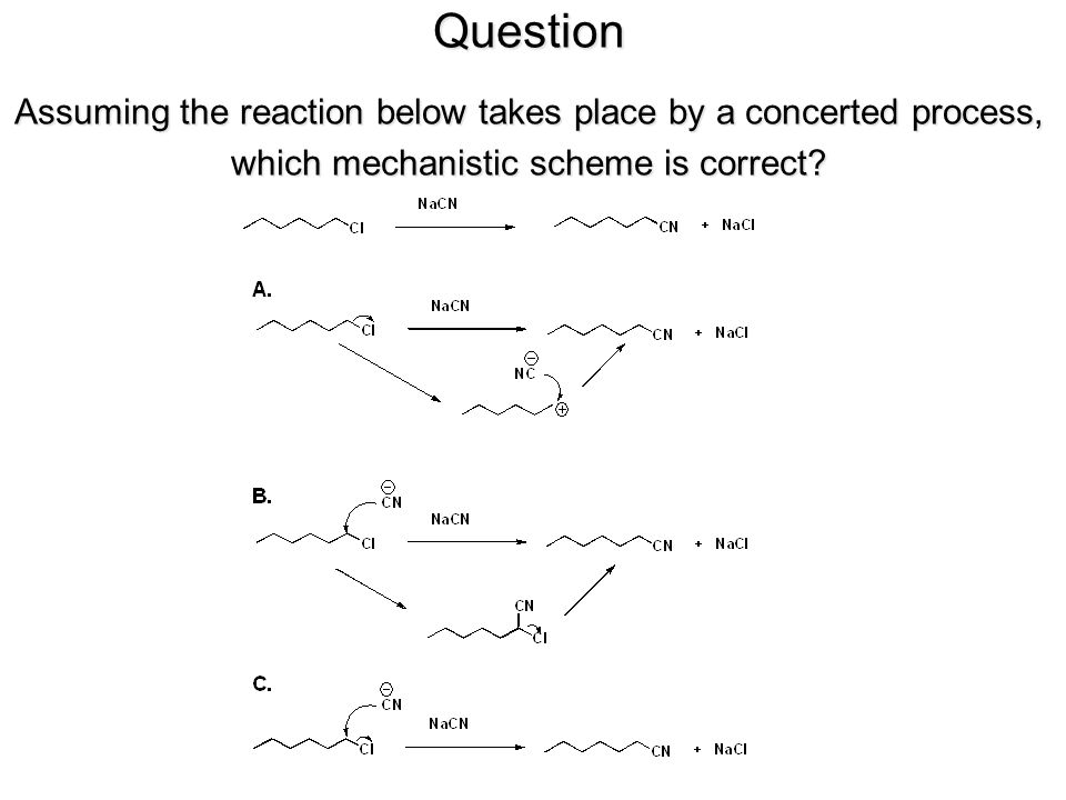 Question Assuming the reaction below takes place by a concerted process, which mechanistic scheme is correct