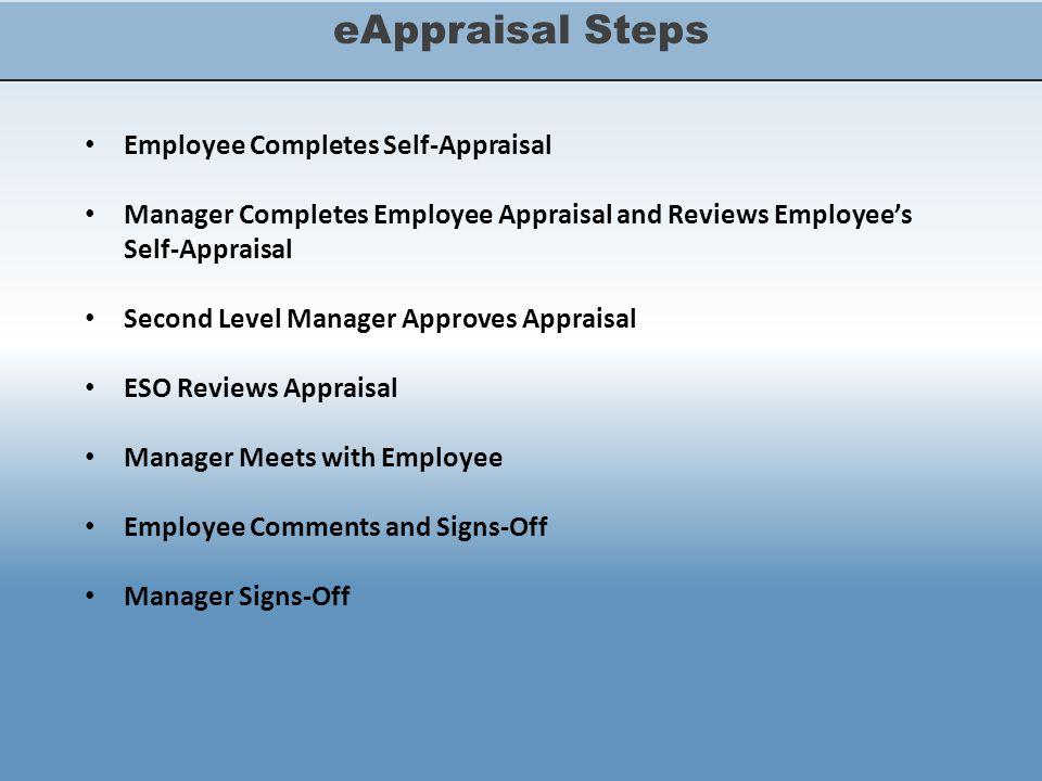 eAppraisal Steps Employee Completes Self-Appraisal Manager Completes Employee Appraisal and Reviews Employee's Self-Appraisal Second Level Manager App
