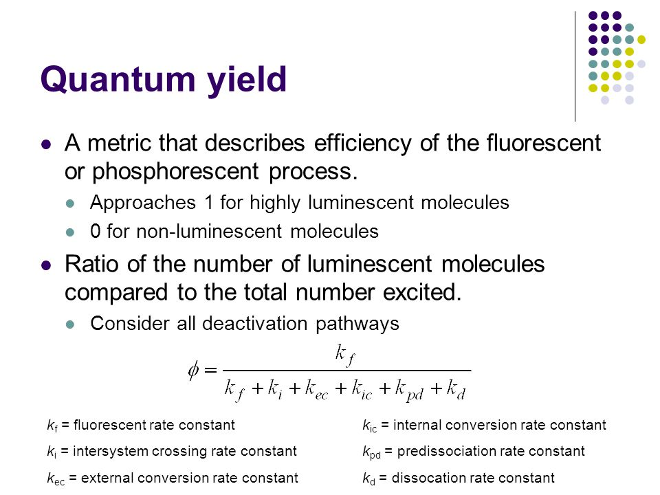 Quantum yield A metric that describes efficiency of the fluorescent or phosphorescent process.