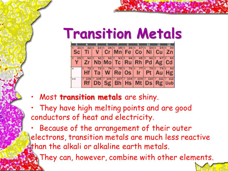 Transition Metals transition metalsMost transition metals are shiny.