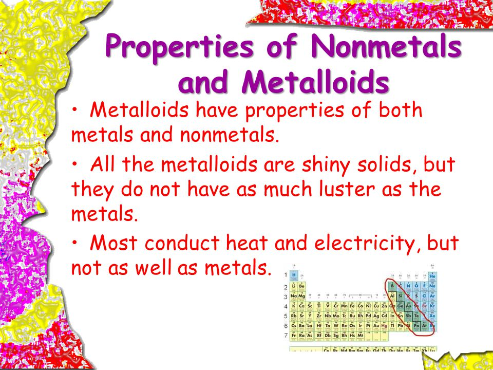 Properties of Nonmetals and Metalloids Metalloids have properties of both metals and nonmetals.