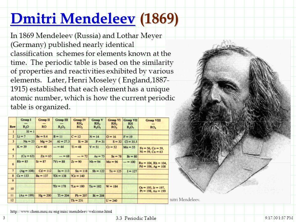 9.17.00 1:37 PM3 3.3 Periodic Table Dmitri MendeleevDmitri Mendeleev (1869) Dmitri Mendeleev In 1869 Mendeleev (Russia) and Lothar Meyer (Germany) pub