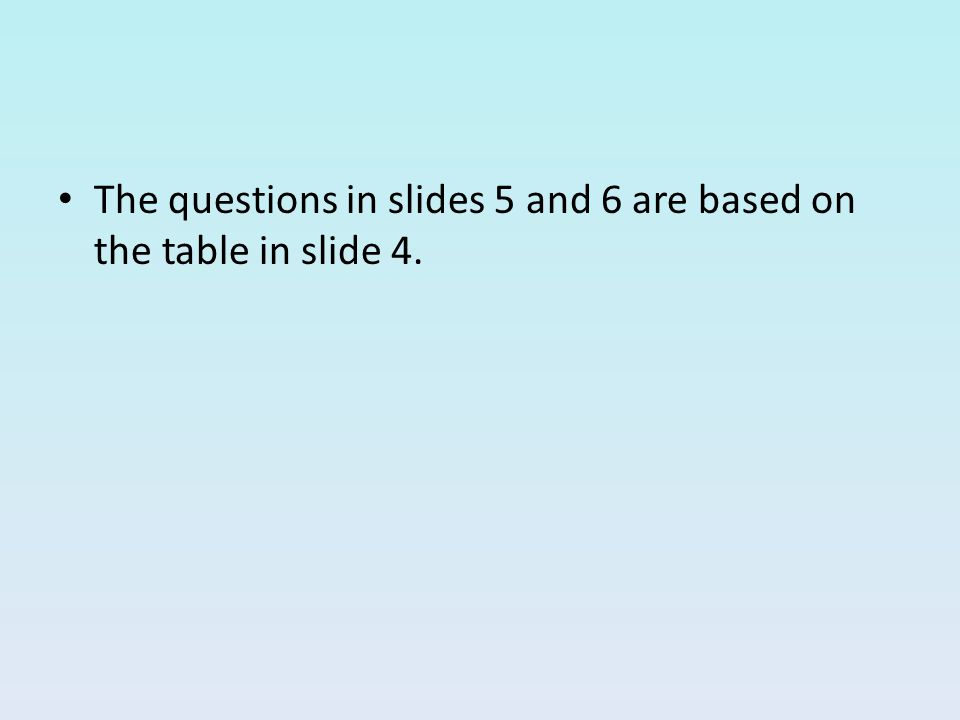 The questions in slides 5 and 6 are based on the table in slide 4.