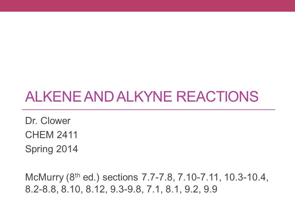 ALKENE AND ALKYNE REACTIONS Dr.