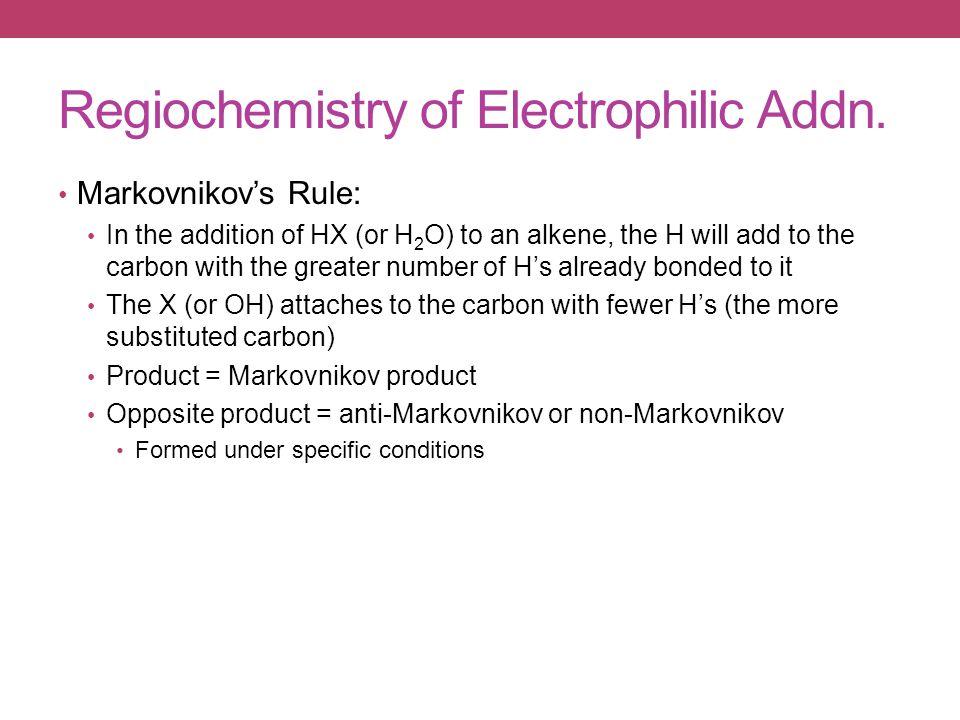 Regiochemistry of Electrophilic Addn.