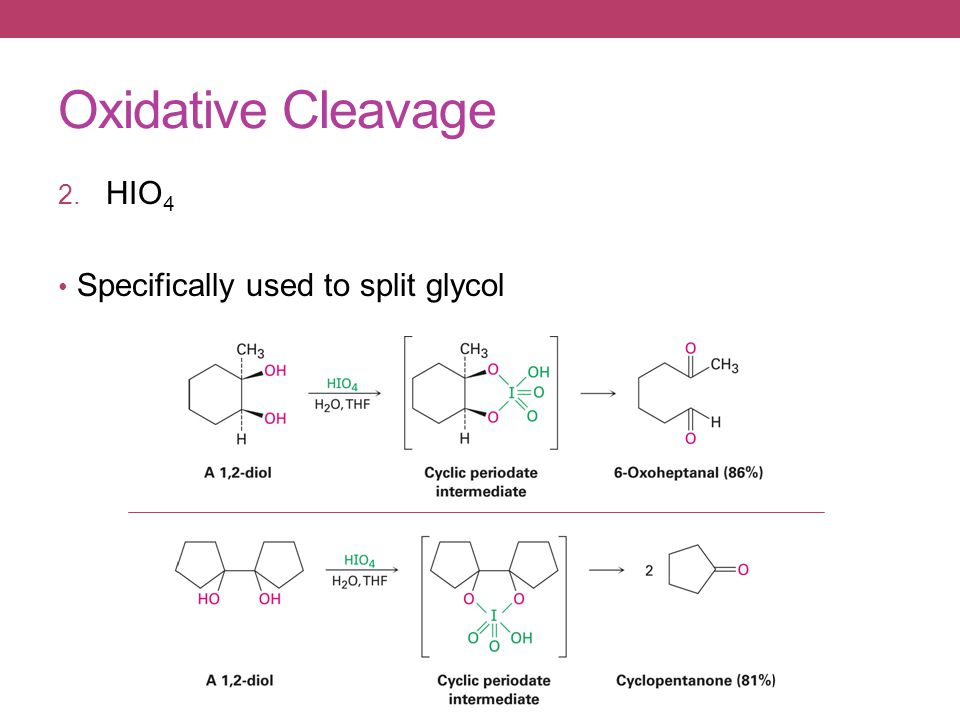 Oxidative Cleavage 2. HIO 4 Specifically used to split glycol