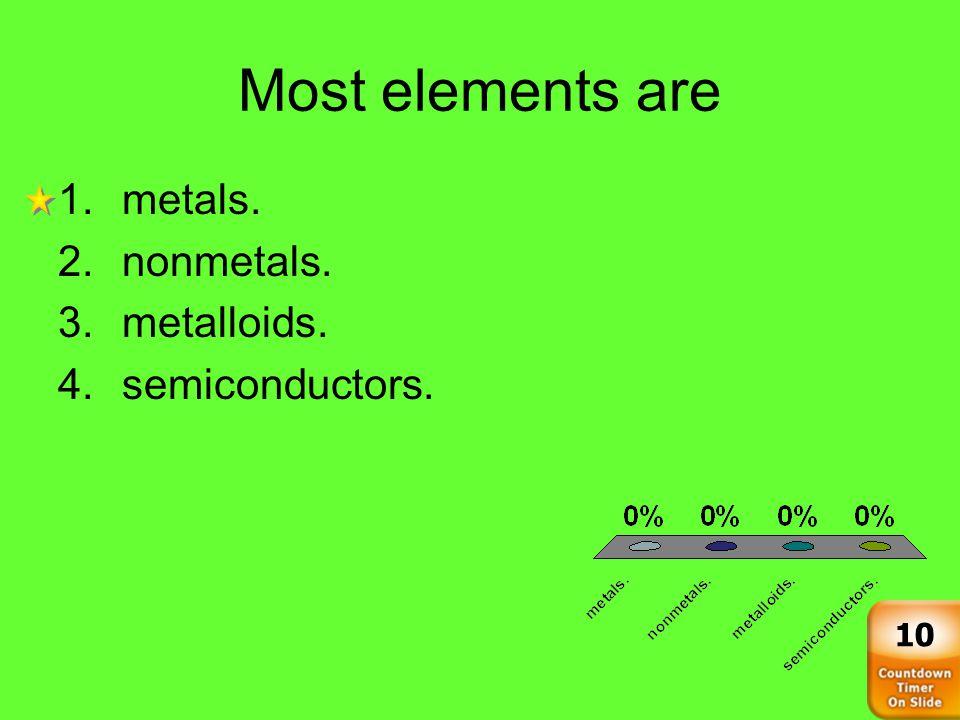 Most elements are 1.metals. 2.nonmetals. 3.metalloids. 4.semiconductors. 10