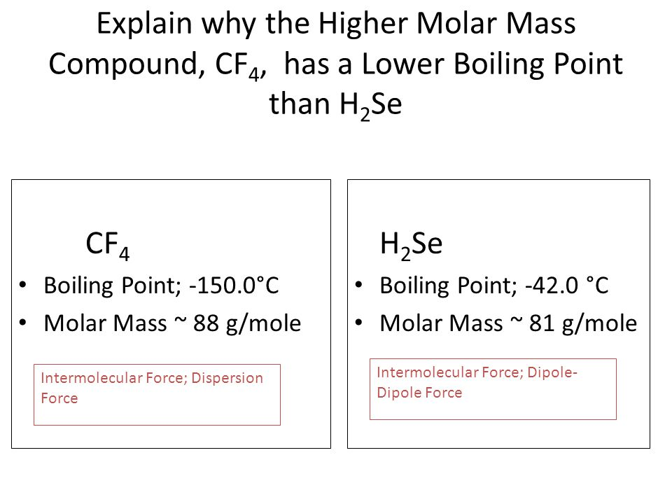 Explain why the Higher Molar Mass Compound, CF 4, has a Lower Boiling Point than H 2 Se CF 4 Boiling Point; -150.0°C Molar Mass ~ 88 g/mole H 2 Se Boiling Point; -42.0 °C Molar Mass ~ 81 g/mole Intermolecular Force; Dispersion Force Intermolecular Force; Dipole- Dipole Force