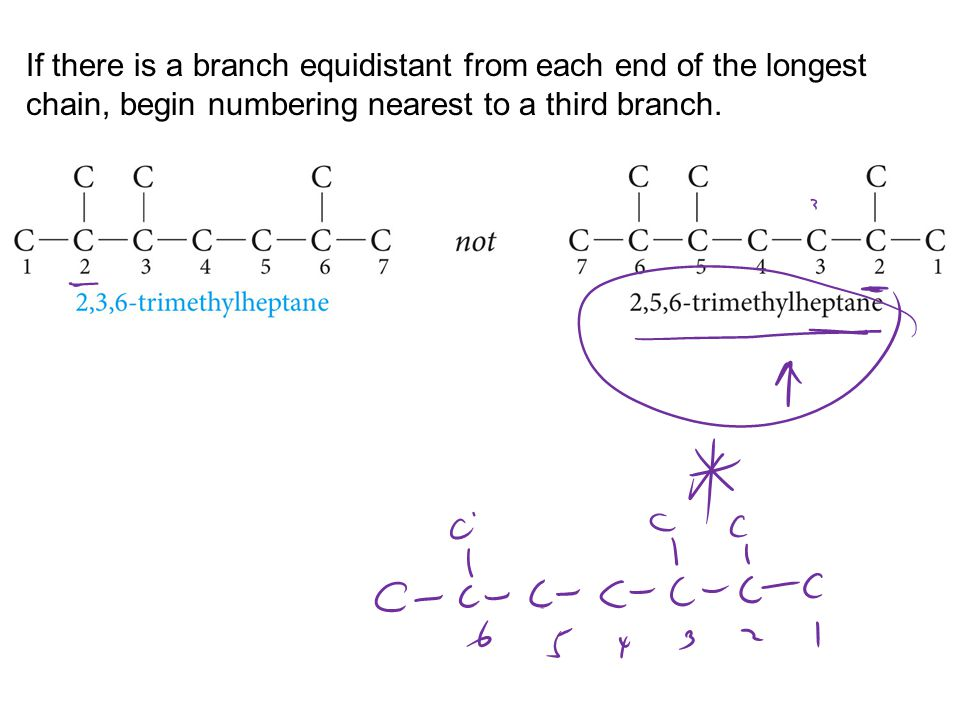 If there is a branch equidistant from each end of the longest chain, begin numbering nearest to a third branch.
