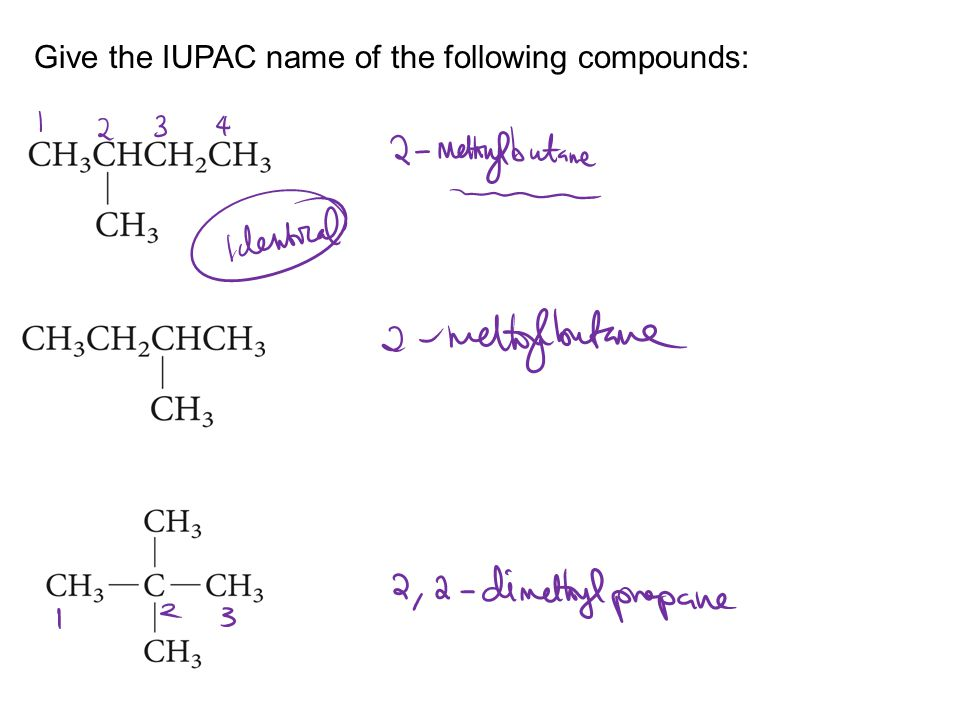 Give the IUPAC name of the following compounds: